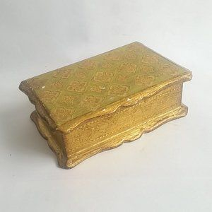 Rustic Ornate Jewelry Box Gold Painted